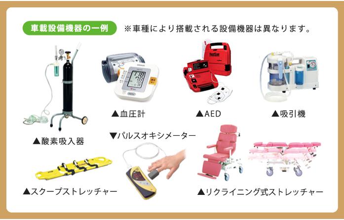 車載設備機器の一例。※車種により搭載される設備機器は異なります。酸素吸入器、血圧計、AED、吸引機、スクープストレッチャー、パルスオキシメーター、リクライニング式ストレッチャー